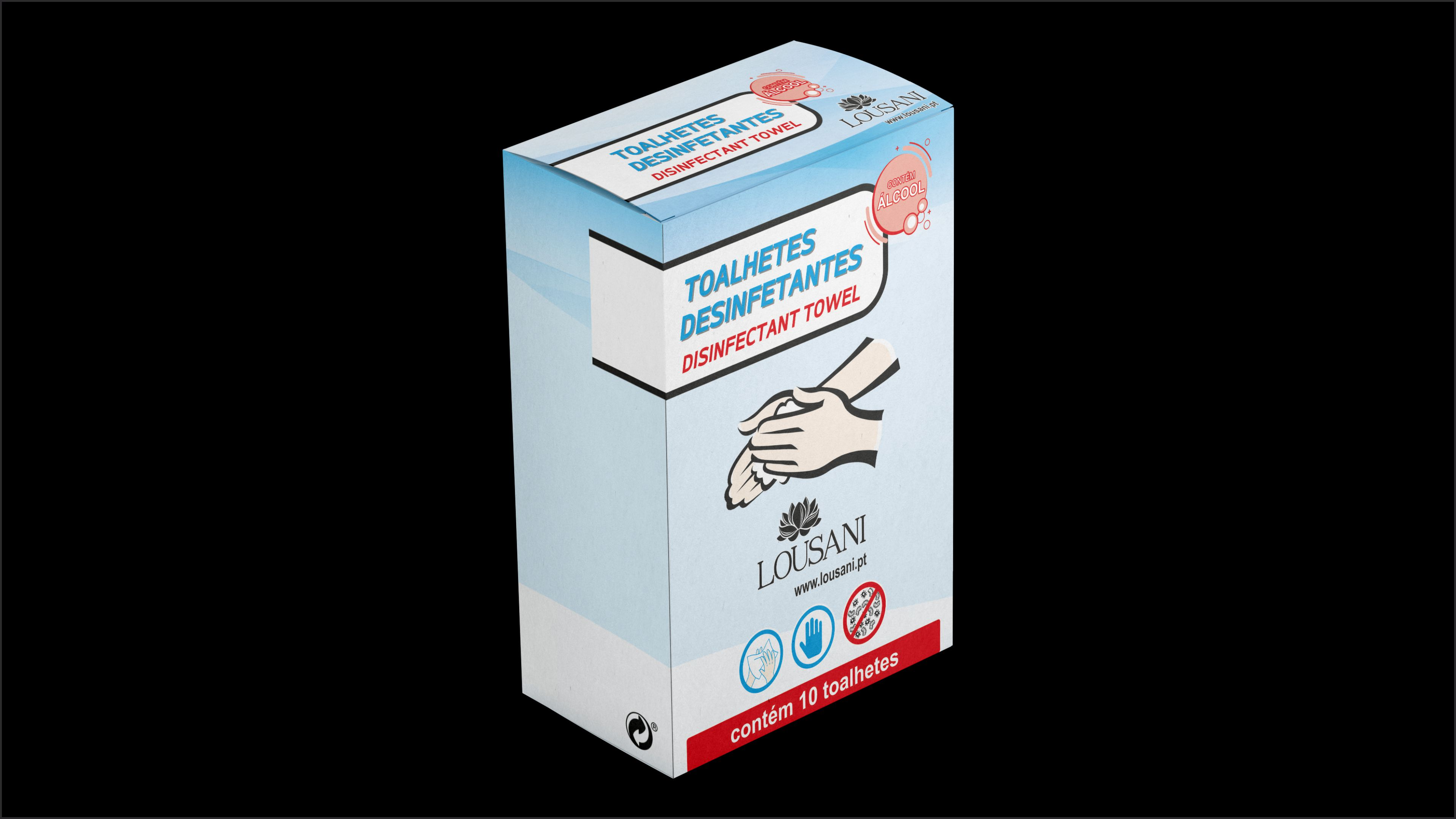 Caixa Cartolina com 10 Toalhetes Desinfetantes Individuais
